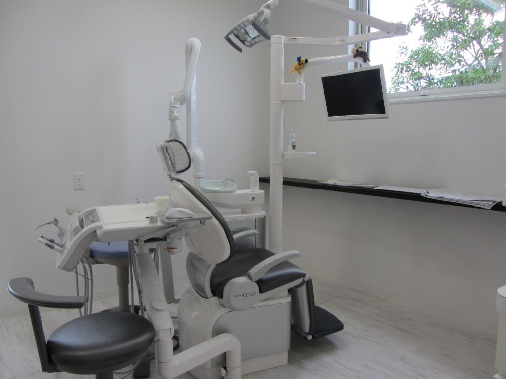 歯医者さんといえばこの椅子。窓からの緑も目に優しいです。